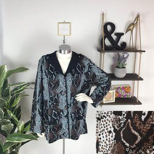 Exclusively Misook Abstract Animal Print Cardigan